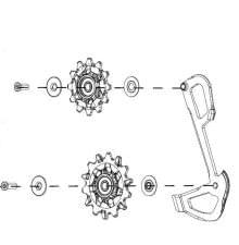 Kladky X-Sync a vnitřní vodítko pro přehazovačky GX Eagle, 12ti rychlostní