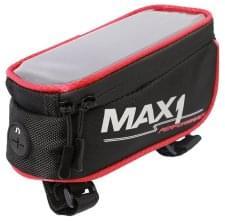 brašna MAX1 na rámovou trubku s kapsou pro mobilní telefon červeno/černá