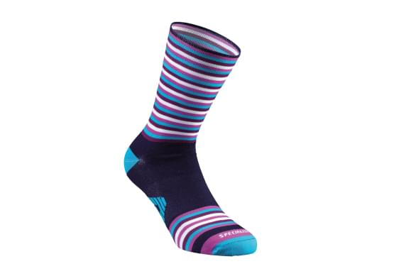 Ponožky Specialized FULL STRIPE SUMMER SOCK BLUE/NEON BLUE/VIOLET